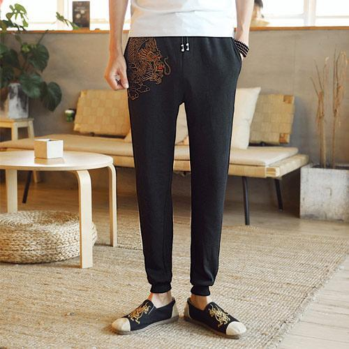 Cool Dragon Embroidery Drawstring Long Pants