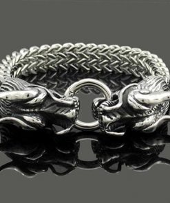 Stainless Steel Double Dragon Bracelet